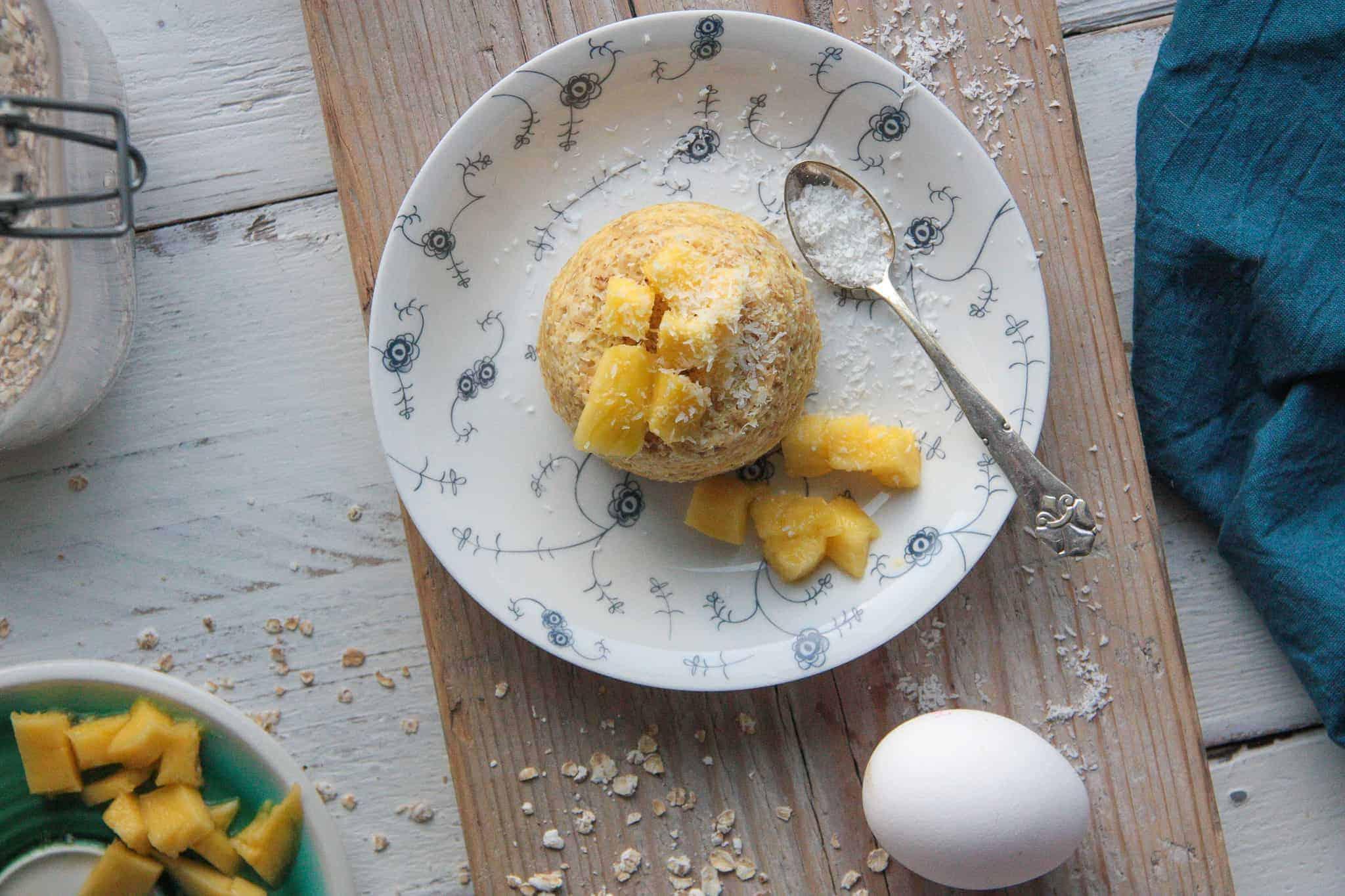 mango mugcake, mugcake, mango, ontbijt, mango's