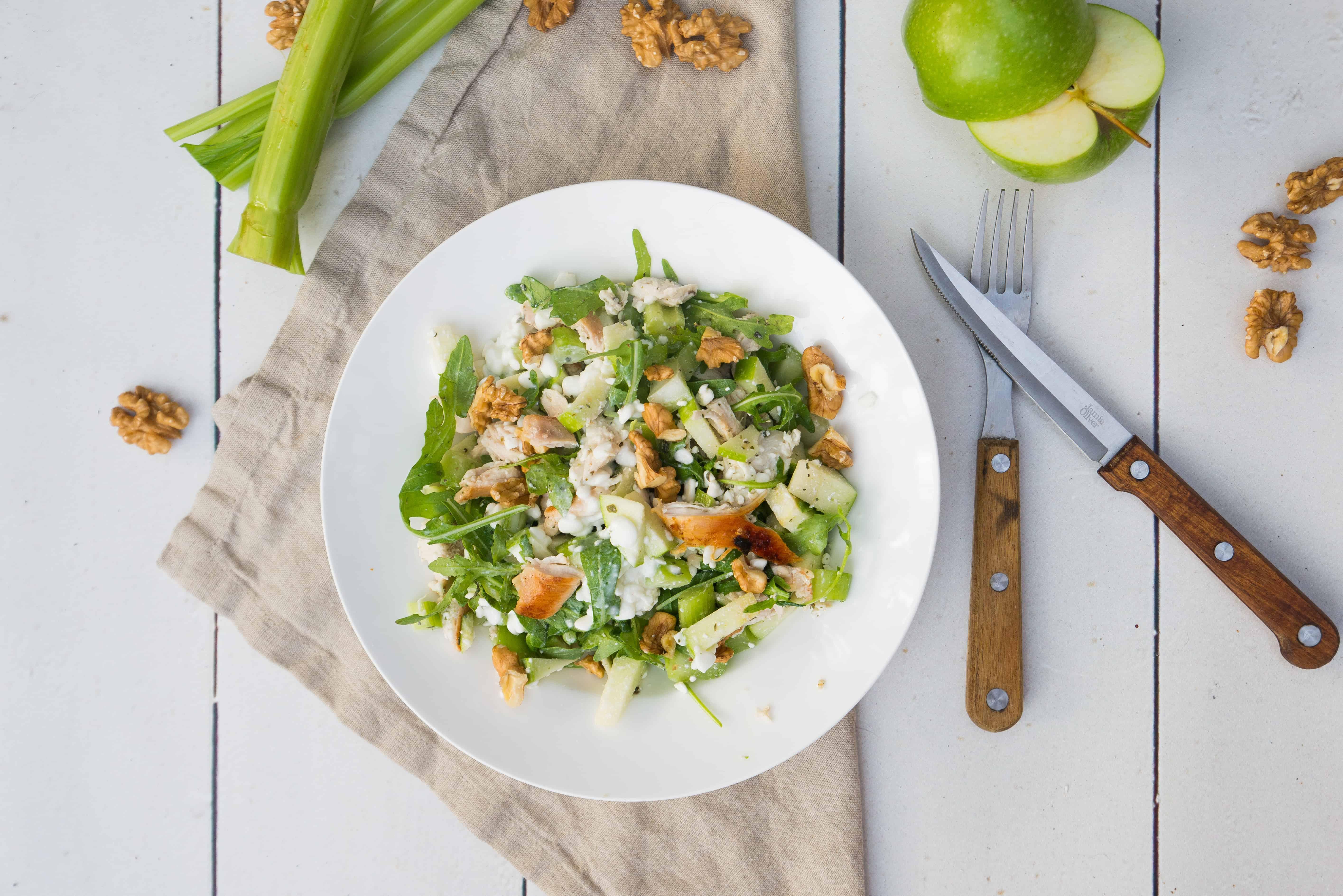 Waldorfsalade, salade, bleekselderij, gezond