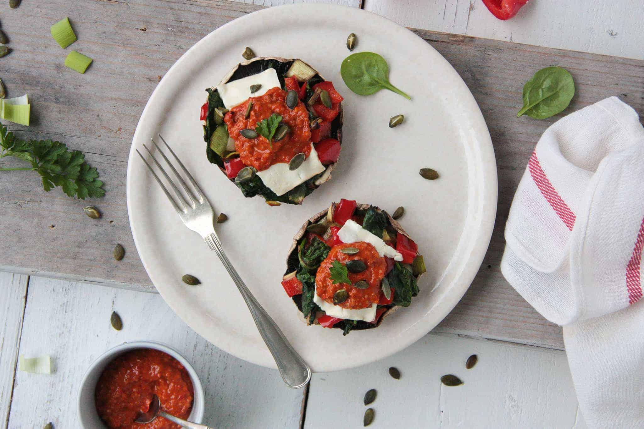 rijk gevulde champignons, vegetarisch