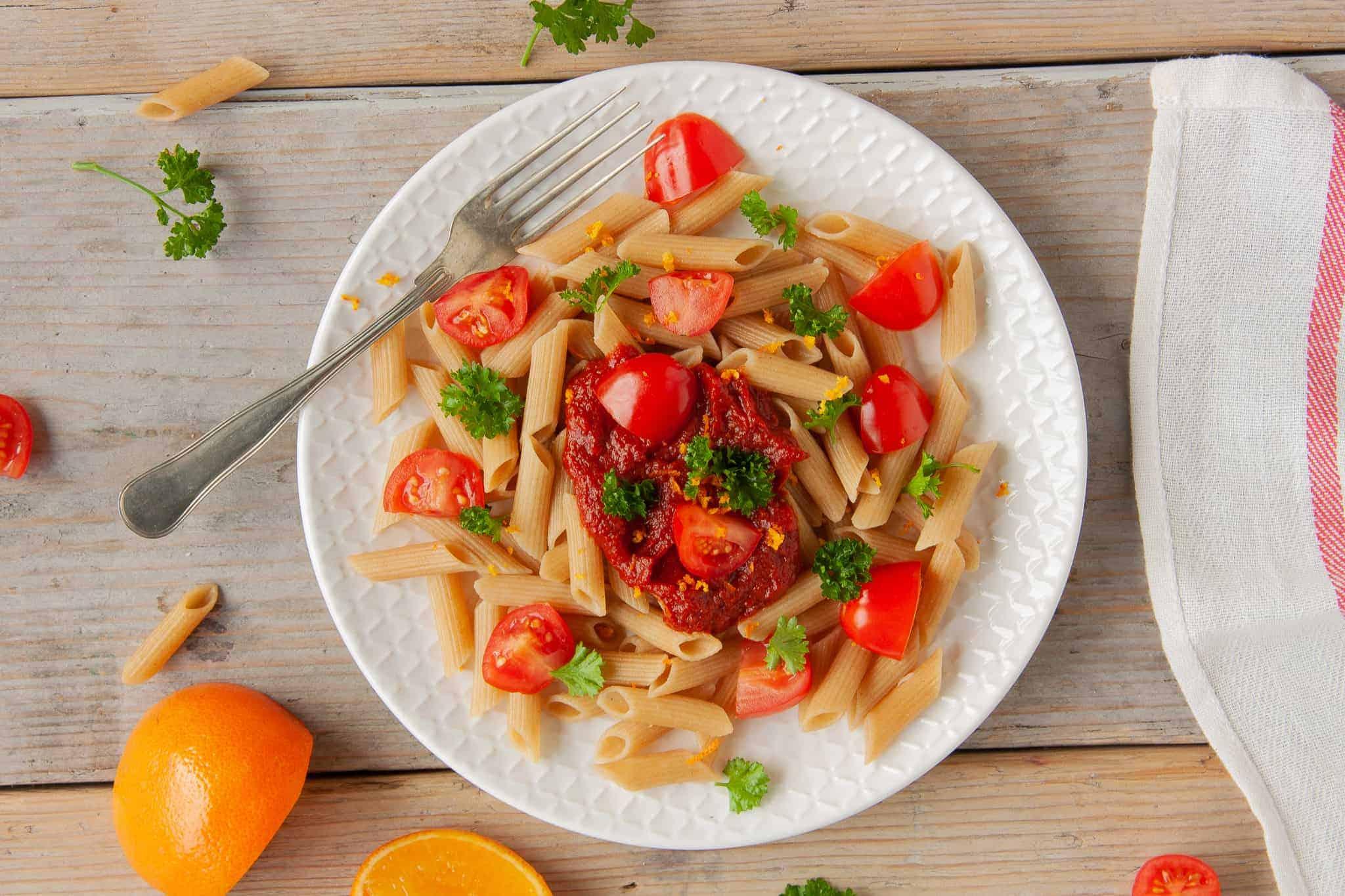 pasta, glutenvrije, simpel, sinaasappel