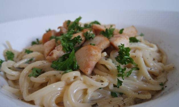 Spaghetti Carbonara, maar dan iets gezonder.