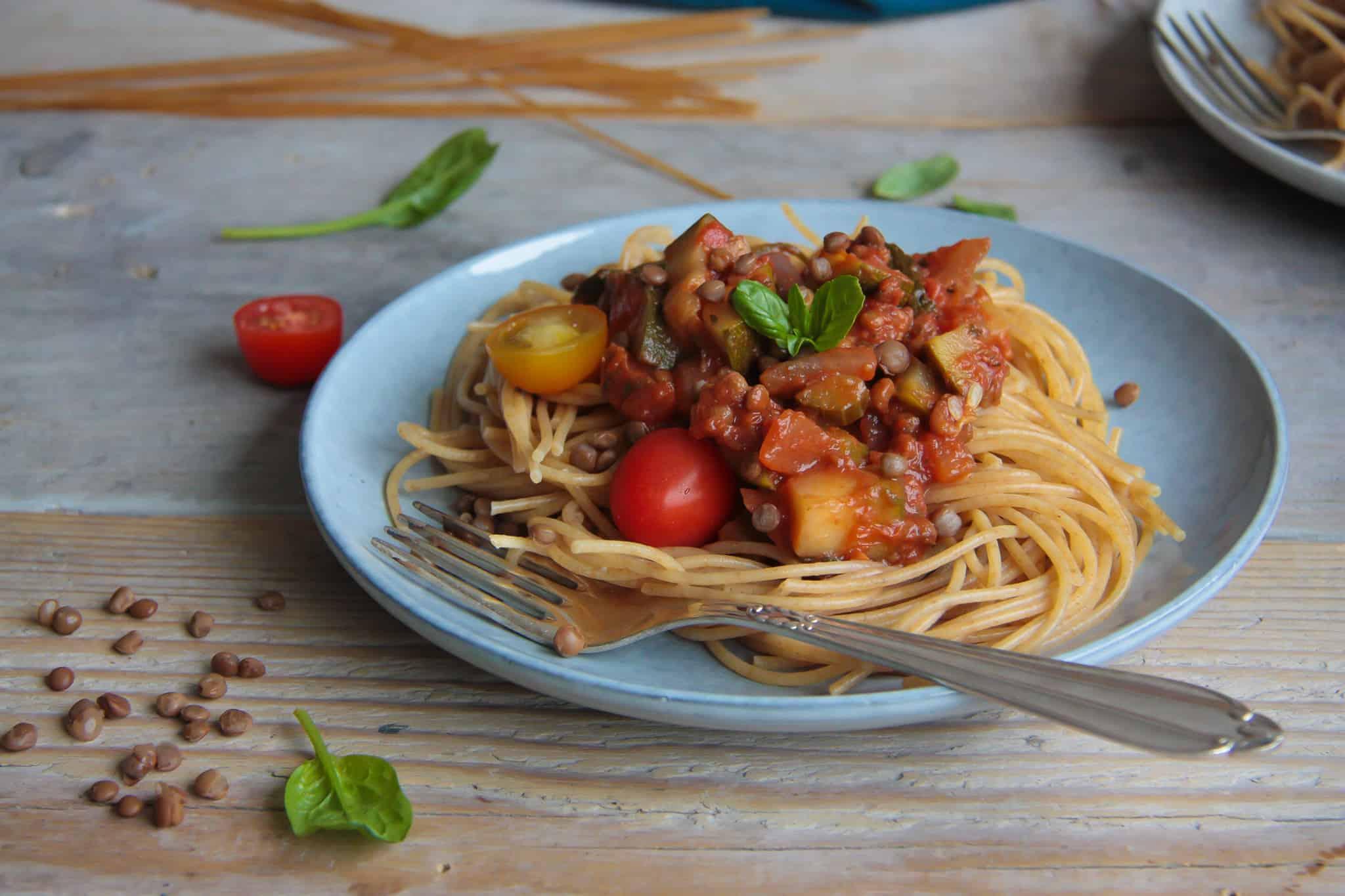 vegetarische spaghetti met linzen