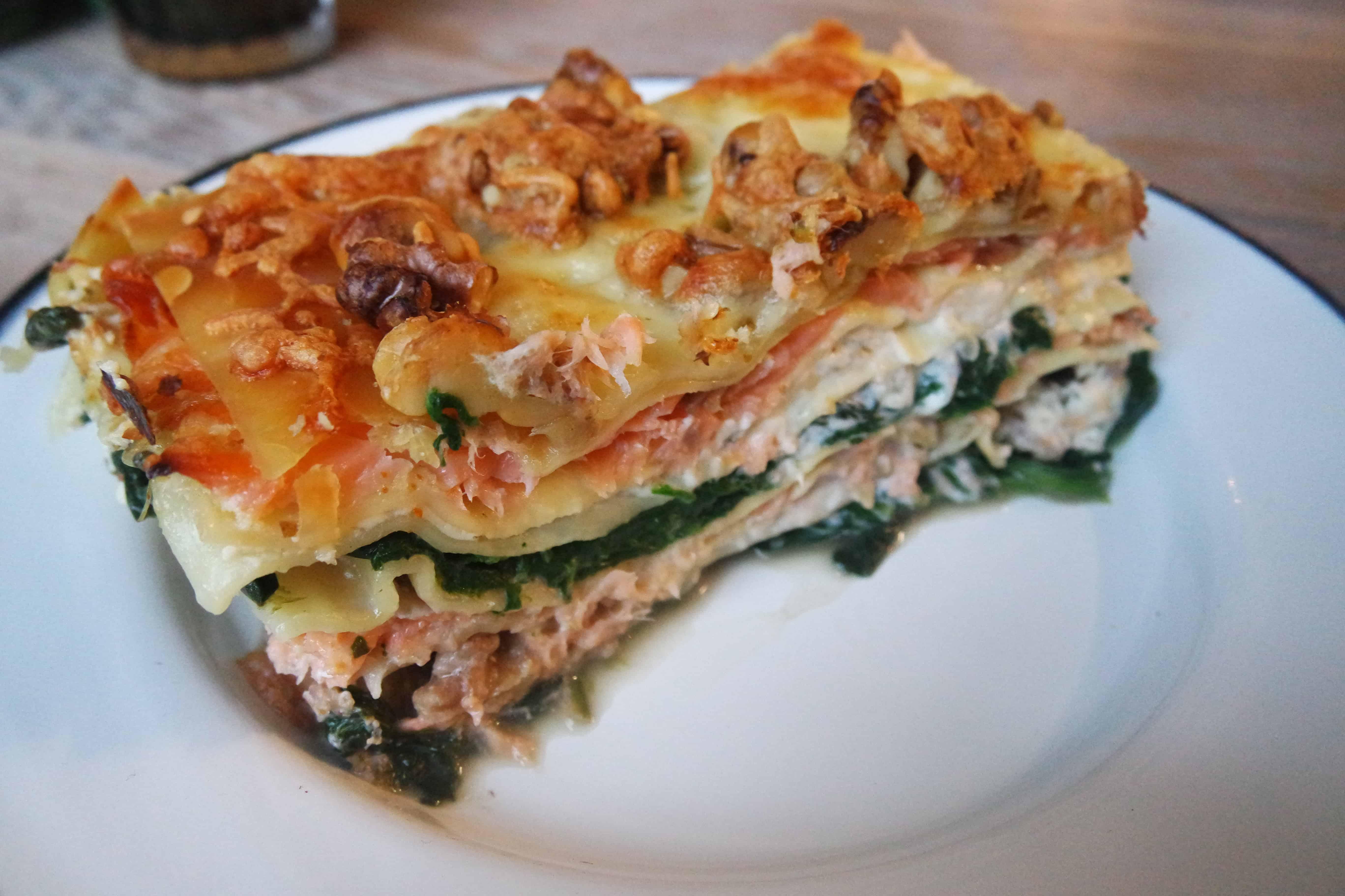 lasagne met gerookte zalm en spinazie