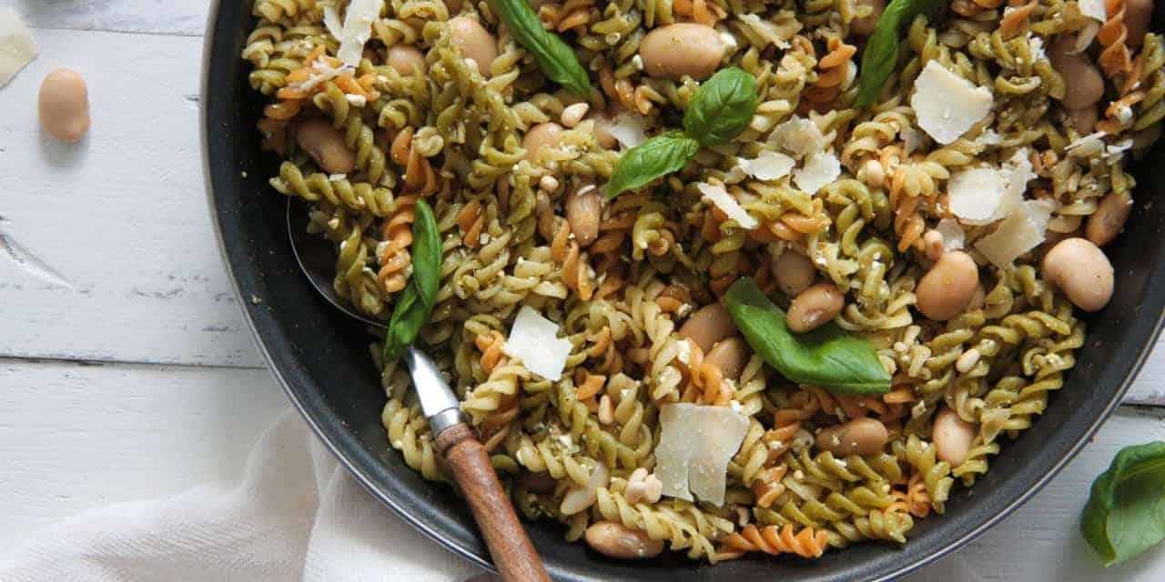 Tricolor pasta met limabonen