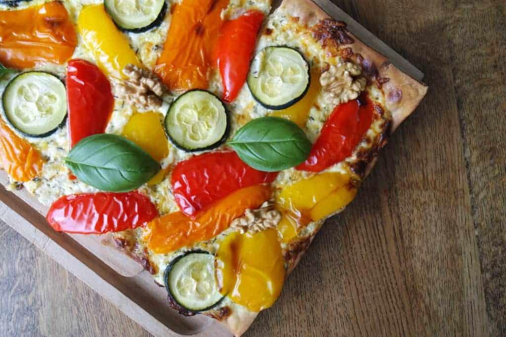 plaattaart, gegrilde groenten, groente