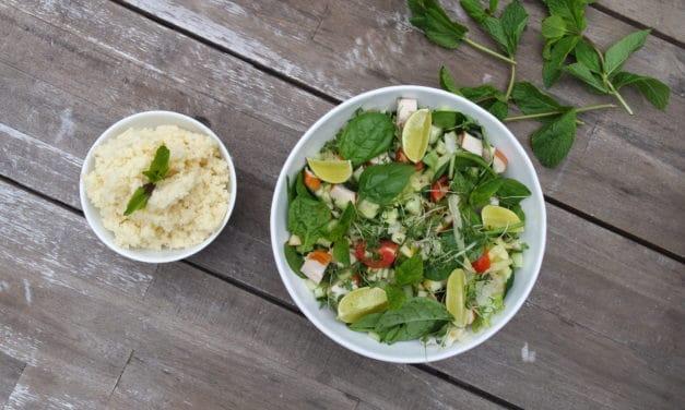 Super couscous salade met gerookte kip en appel