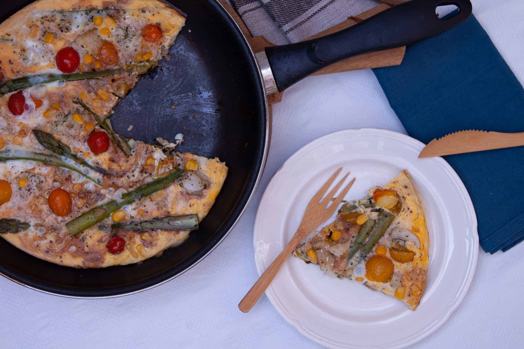 Frittata met witvis en groene asperges