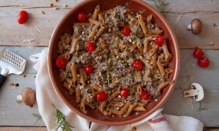 Truffelpasta met romige paddenstoelen