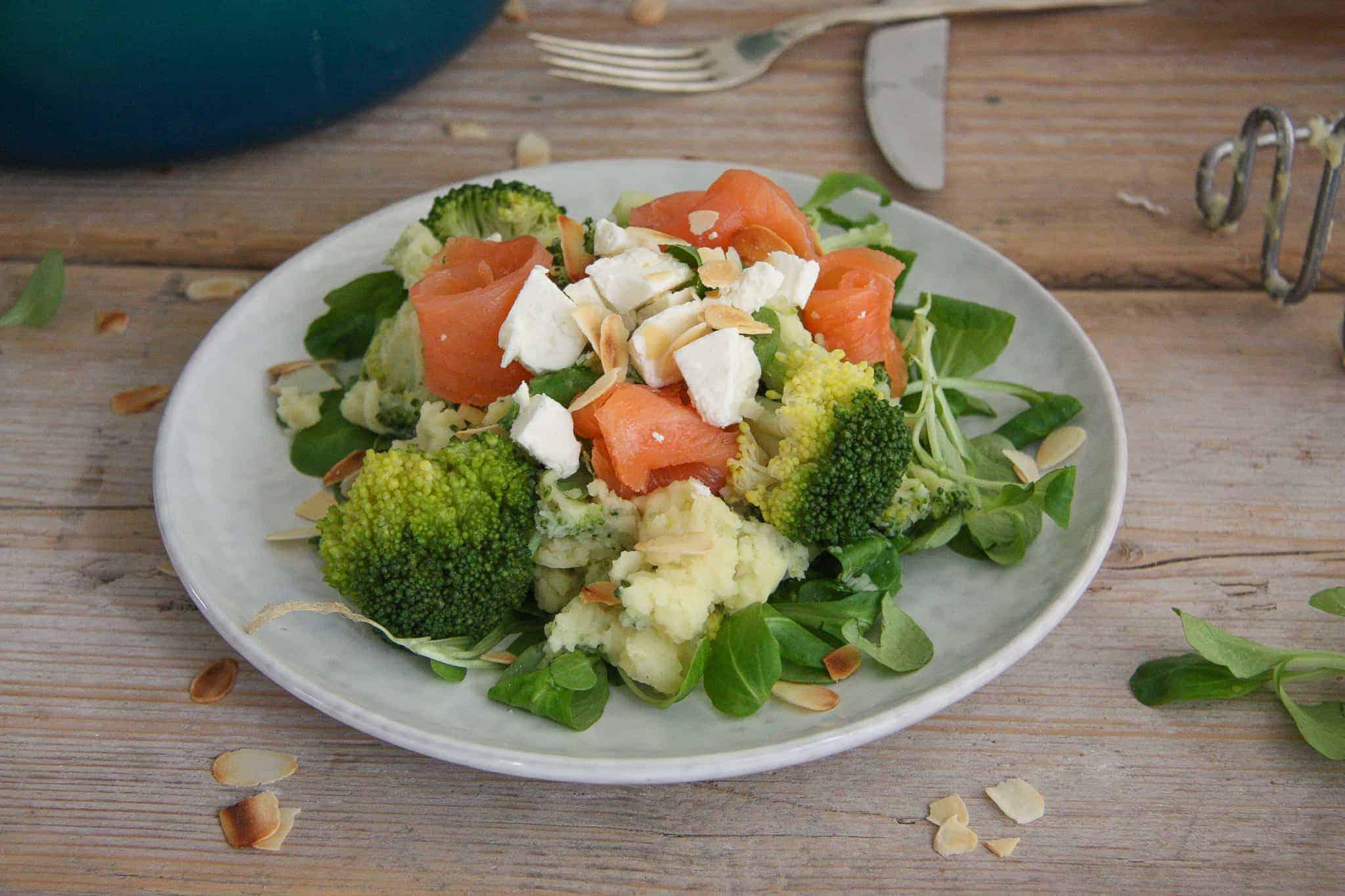 stamppotten, gerookte zalm, broccoli, broccolistamppot