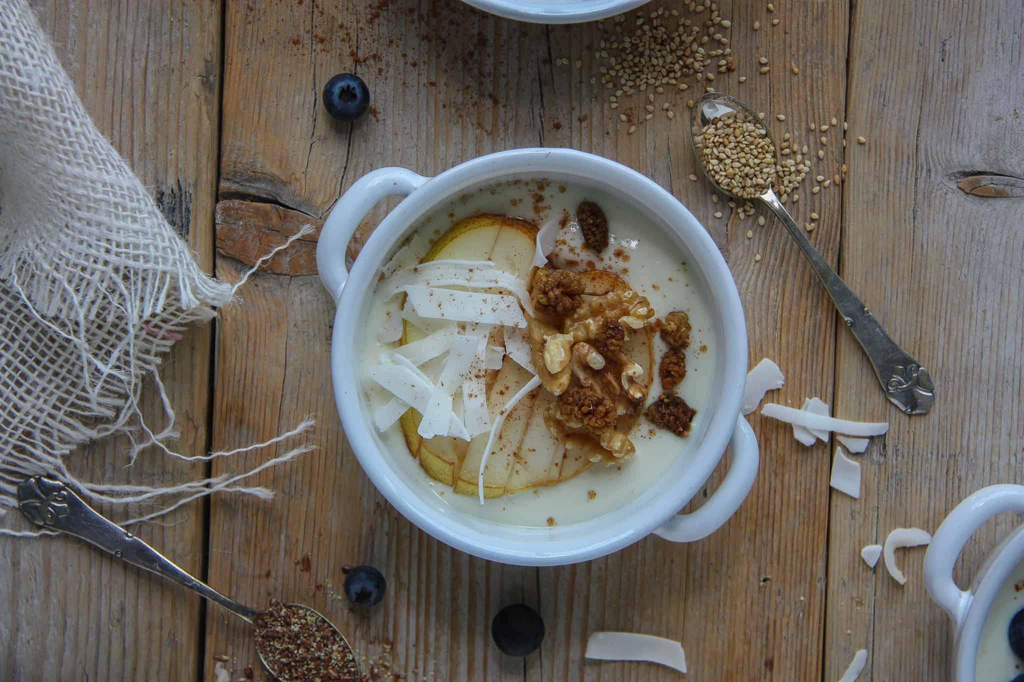 eiwitrijke yoghurt ontbijtjes, soja yoghurt