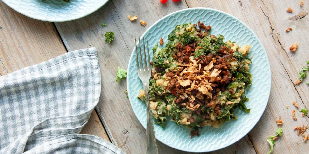 Vegetarische boerenkool met pittige twist!