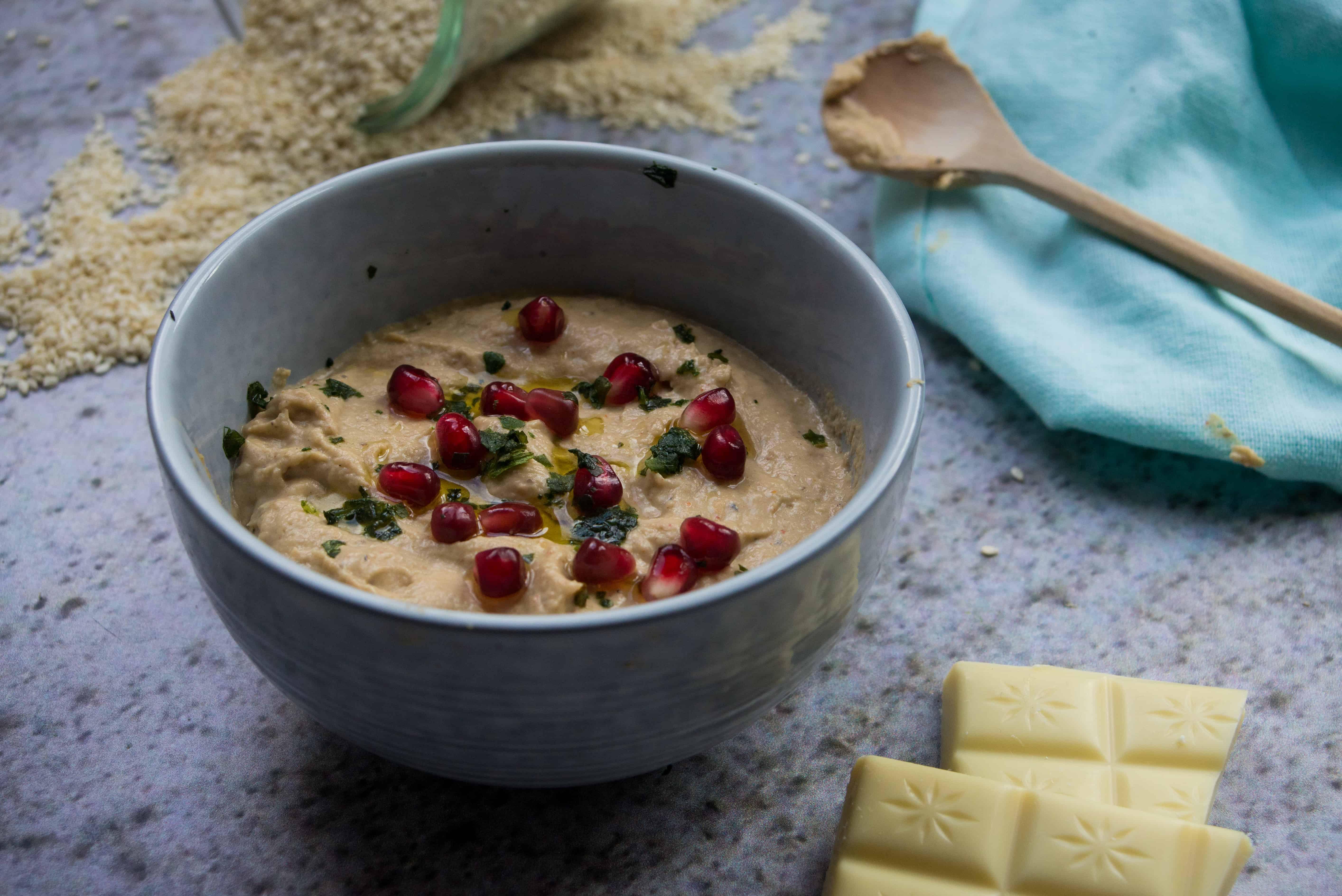 Baba Ganoush dip met witte chocolade