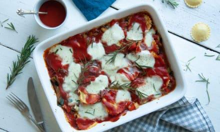 Vegetarische lasagne van ravioli pasta