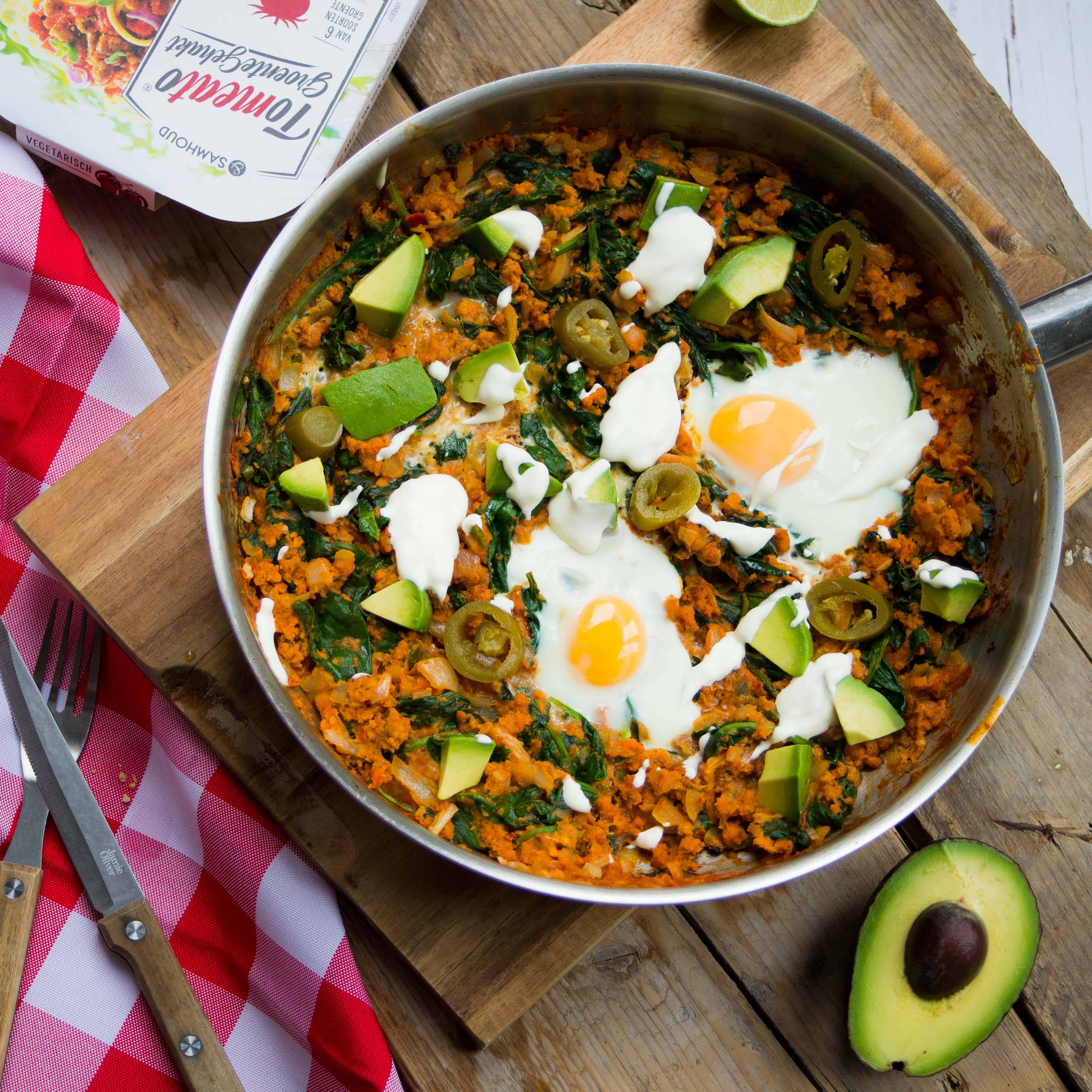 Mexicaanse shashuka, vegetarisch, &samhoud food, groentegehakt