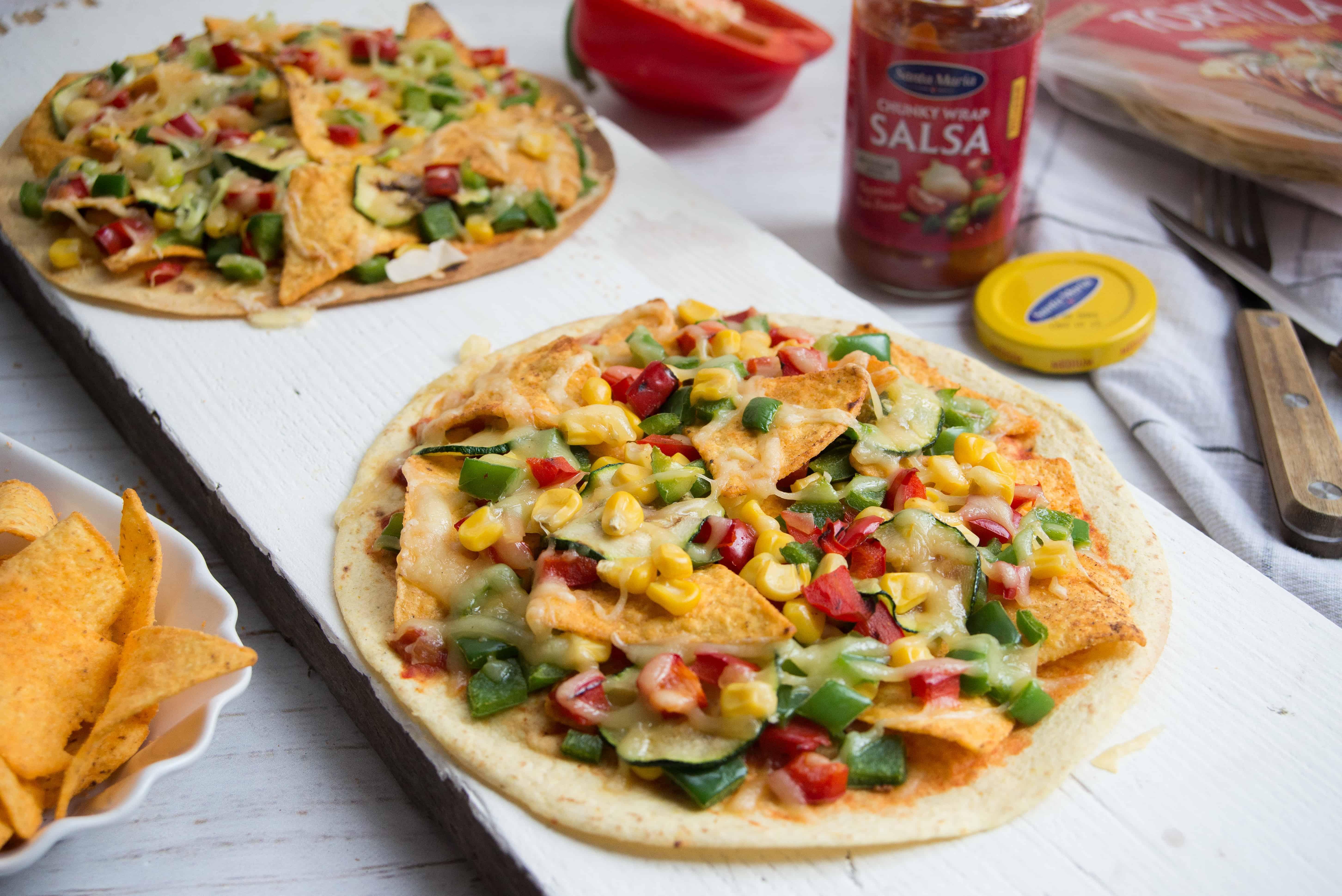 Nationale week zonder vlees, crispy corn tortilla pizza, Santa Maria