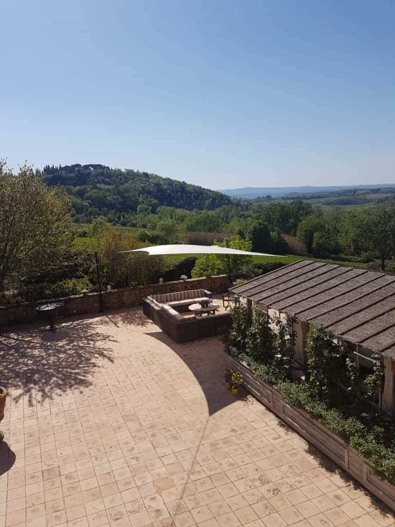 Uitzicht vanuit de villa in Toscane