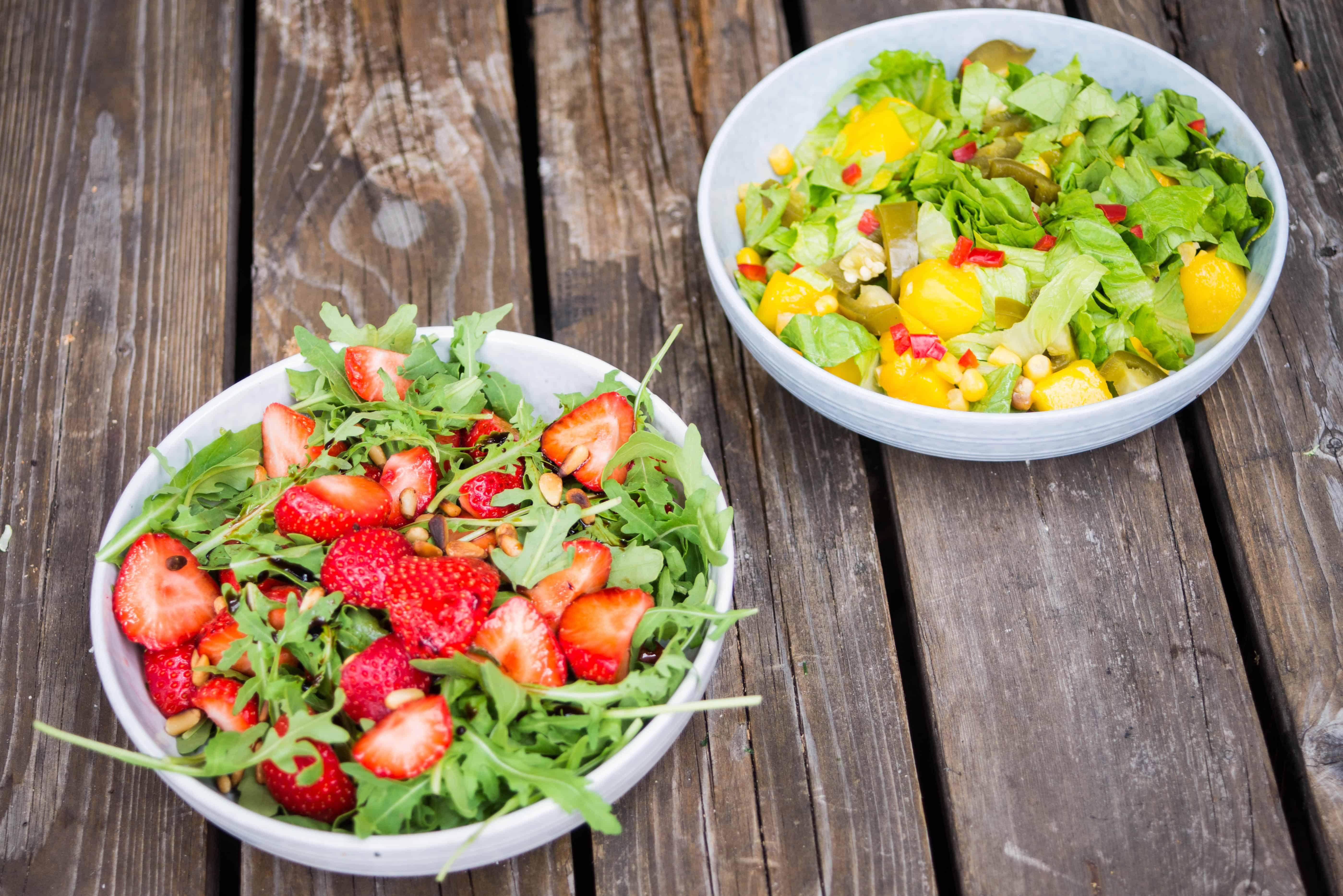 gezonde salades, rucola, bbq
