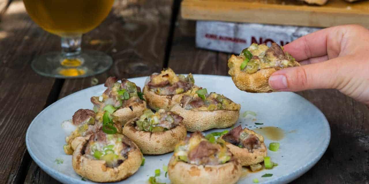 Gevulde champignons met steak en cheddar