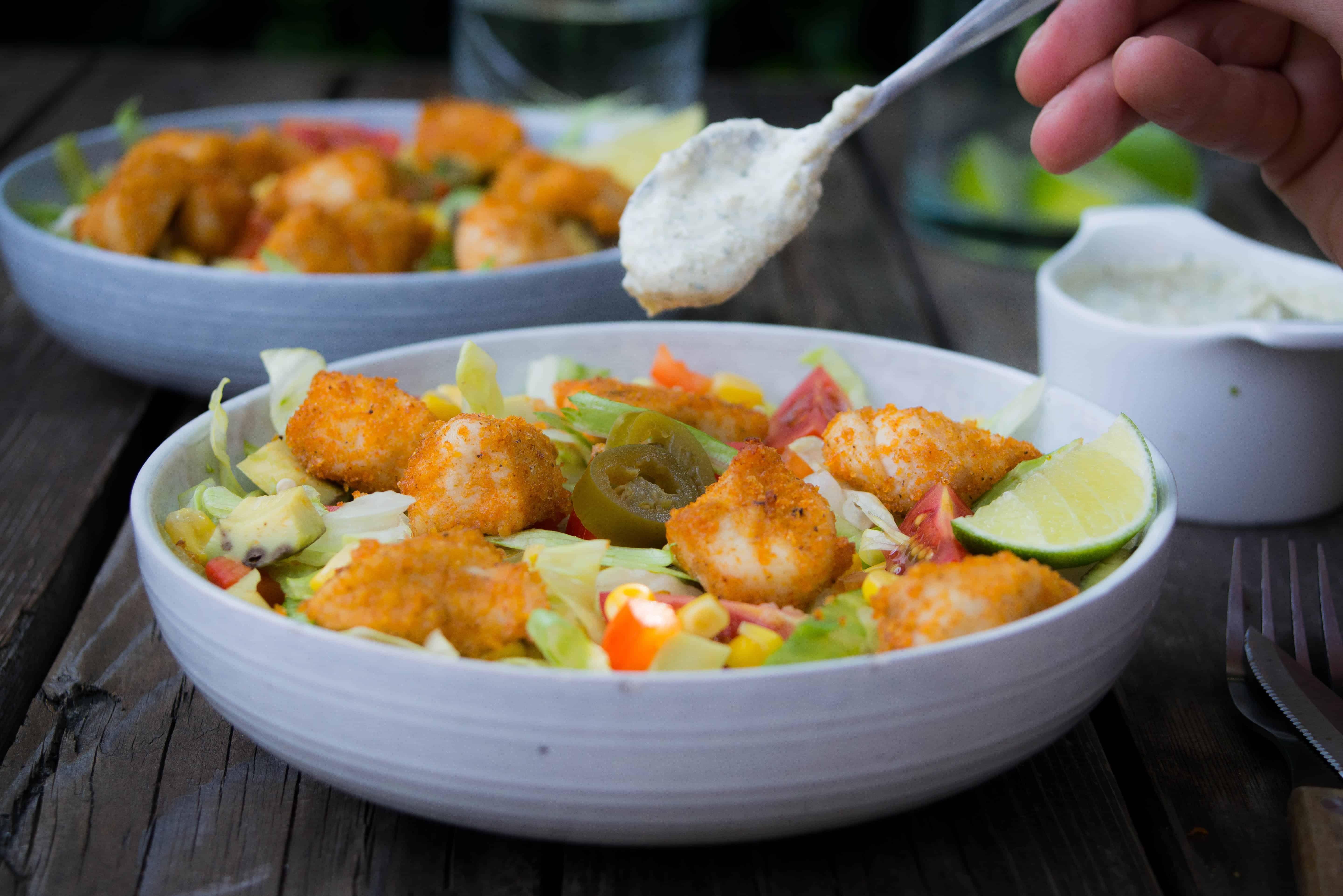 krokante kip, krokante salade, Santa Maria Crispy Chicken Seasoning Mix