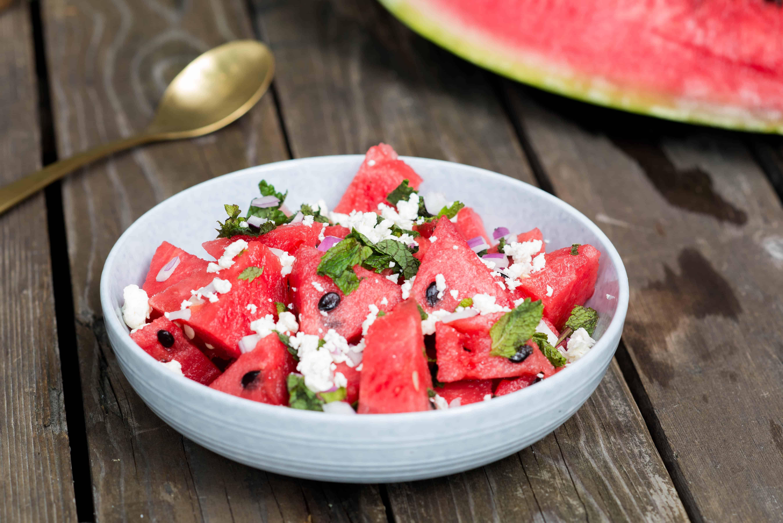 watermeloen, bbq, salade