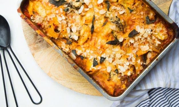 Vegetarische lasagne met aubergine van Jamie Oliver