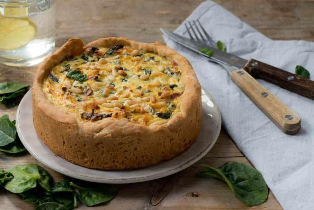 quiche met spinazie en ricotta, quiche, spinazie, ricotta, hartige taart.