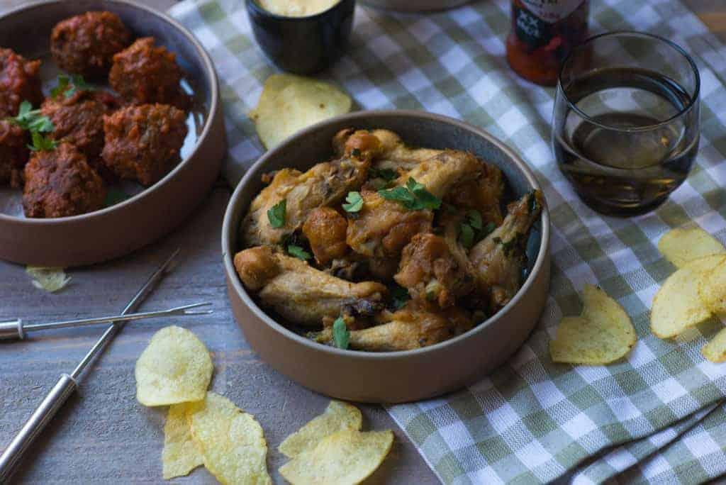 gemarineerde kipkluifjes, kip, kip uit de oven, whiskey