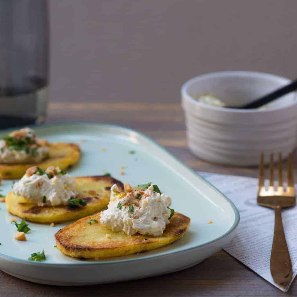 toast van aardappel met romige pesto, aardappel, pesto