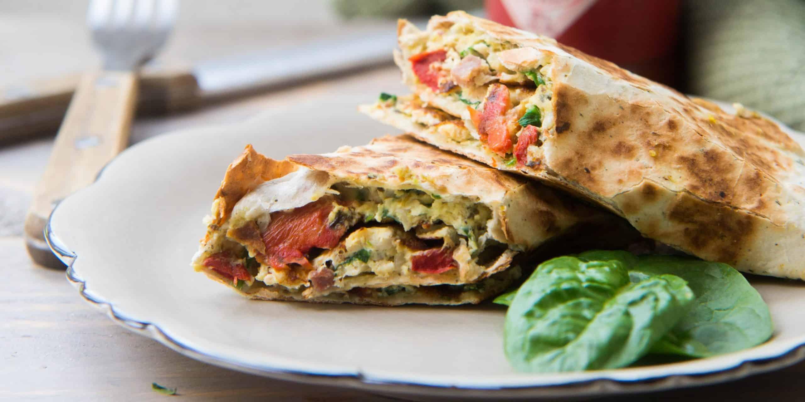 lunch wrap met kip, groenten en geroosterde paprika, lunch wrap, wrap, groenten, groente
