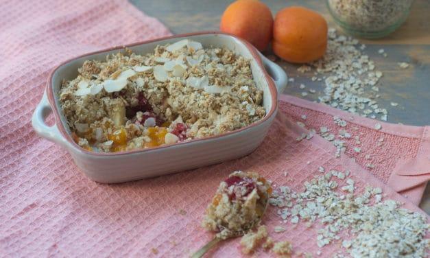 Ontbijt crumble met abrikozen
