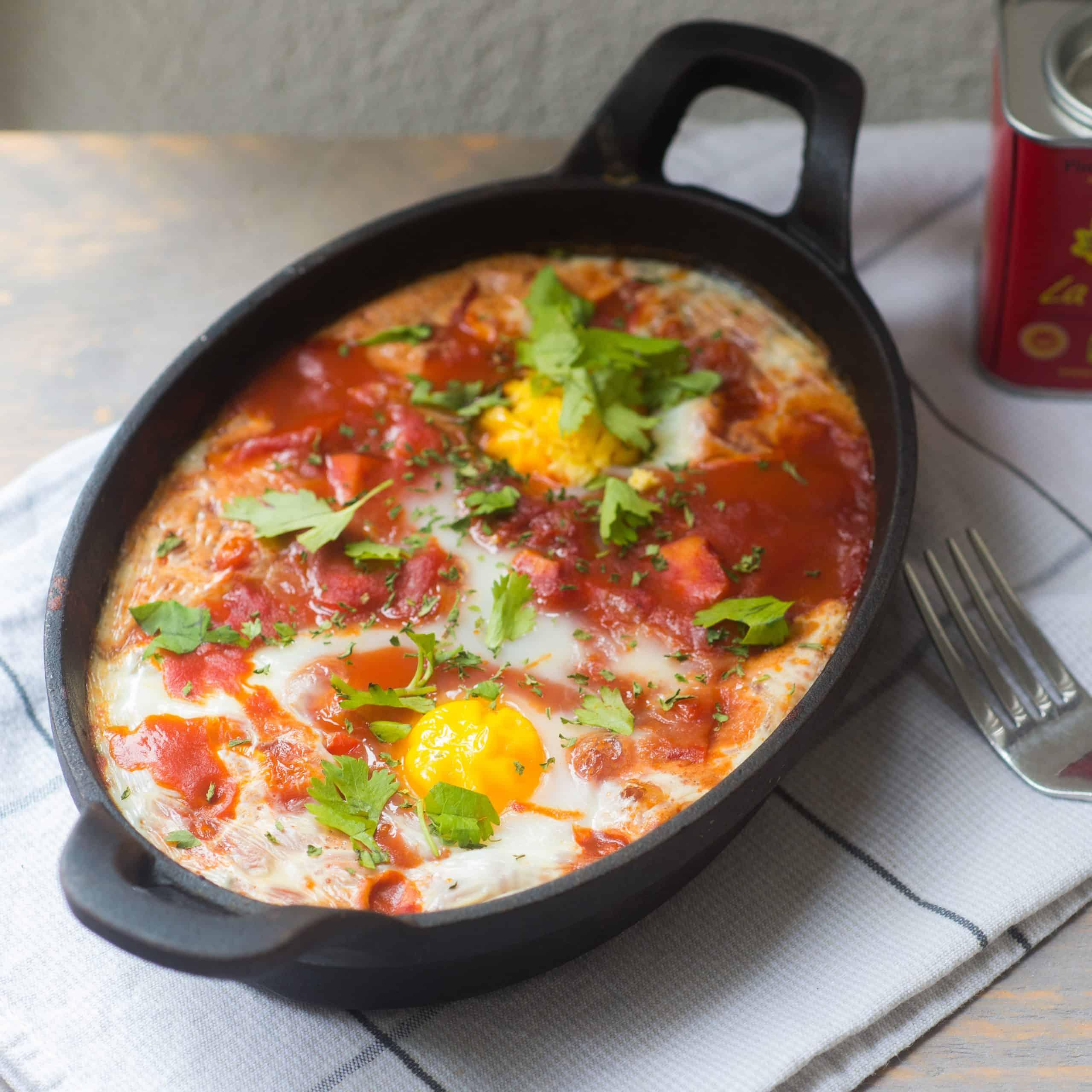 shakshuka met paprika en kip