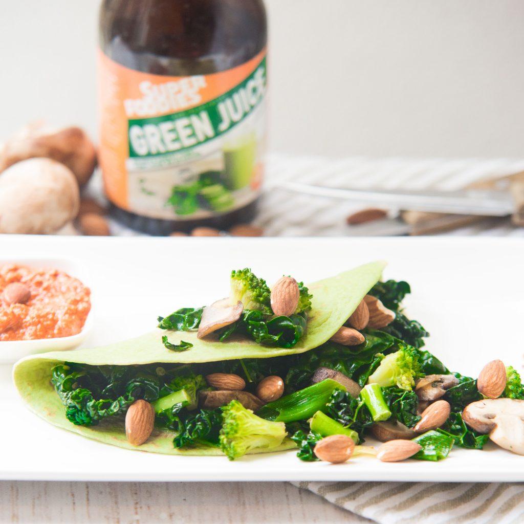 vegetarische groene wraps, green juice