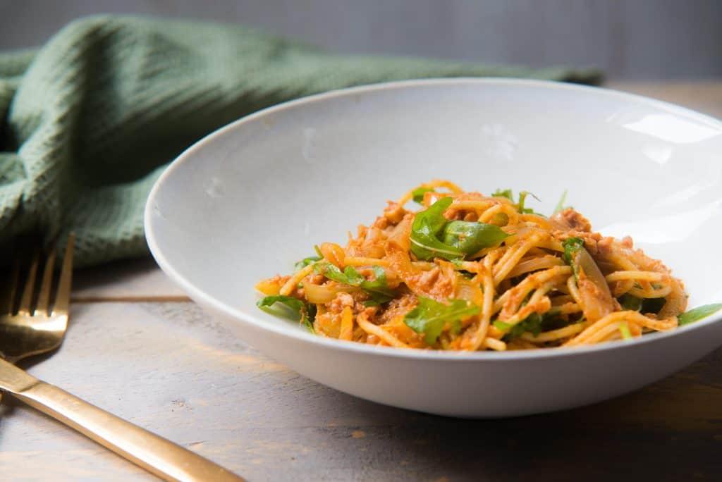 spaghetti pasta met pittige tonijn, spaghetti, pasta, tonijn