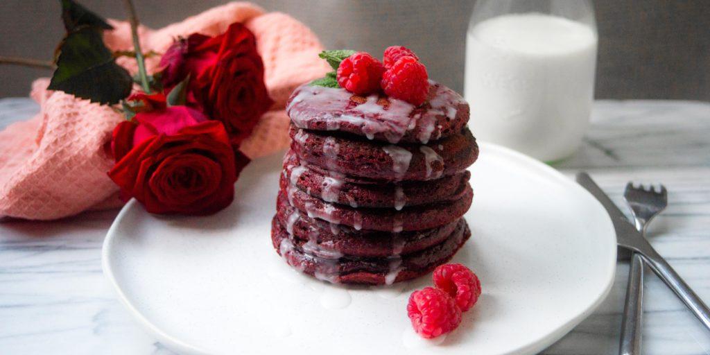 red velvet pancakes, pancakes, Valentijn